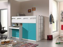 Halfhoogslaper Bonny 70 met bureau, commode en kast - turquoise