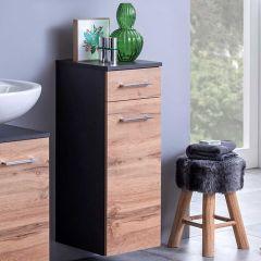Badkamerkastje Pares 30cm 1 deur & 1 lade - grafiet/wotan eik
