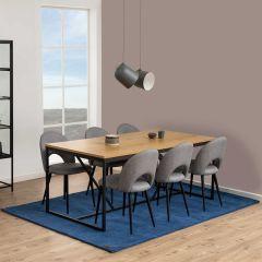 Eettafel Dover 180x90 industrieel - eik/zwart