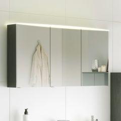 Spiegelkast Florent gebogen 100cm met 3 deuren & led lichtbalk - grafiet