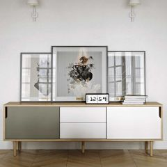 Dressoir Danny 201cm met lades & houten pootjes - grijs/wit/eik