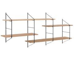 Wandrek Newton met 4 legplanken - hout/zwart