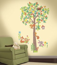 Muurstickers Woodland Creatures Tree