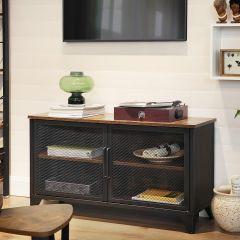 Tv-meubel Jaxx 100 cm 2 deuren - rustiek bruin/zwart