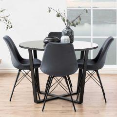 Eettafel Amanda Ø110 - marmer/zwart