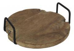 Dienblad met handvat - ø35 cm - teak - onbehandeld