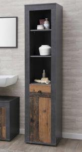Kolomkast Rutger 1 lade & 1 deur - hout/grafiet