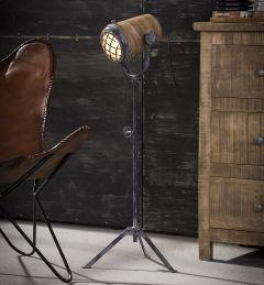 Staande lamp Romi - houten kap L