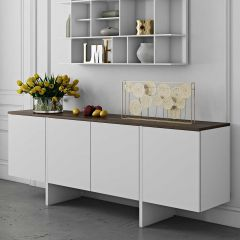 Dressoir Echo - wit/walnoot