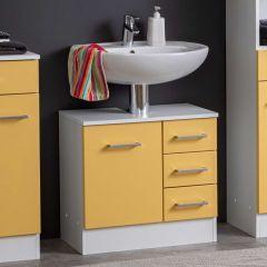 Wastafelonderkast Ricca 60cm 1 deur & 3 lades - wit/geel