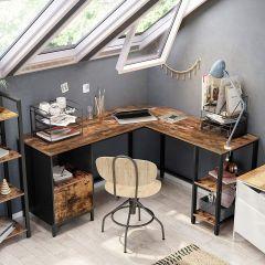 Hoekbureau Fabrice 150 cm met kastje & legplanken - rustiek bruin/zwart
