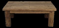 Salontafel - rechte poot - electric pillar - zeer rustiek oud hout