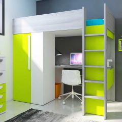 Hoogslaper Beau met bureau en kast - groen