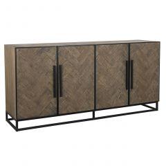 Dressoir Herringbone 180cm 4 deuren - eik/zwart