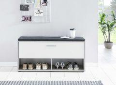 Schoenenkast Karin met zitkussen - wit/beton