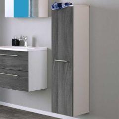 Kolomkast Gene 30cm 1 deur - wit/grijze eik