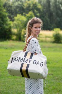 Luiertas Mommy Bag met strepen - ecru/zwart