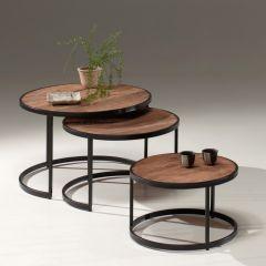 Set van 3 salontafels Amana industrieel