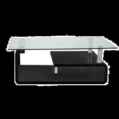 Salontafel Hilda met glazen blad - hoogglans zwart