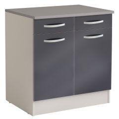 Onderkast Spoon 80 cm met 2 laden en 2 deuren - glossy grey