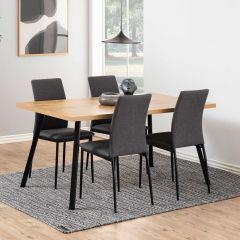 Eettafel Wallace 160x90 met schuine poten - eik/zwart
