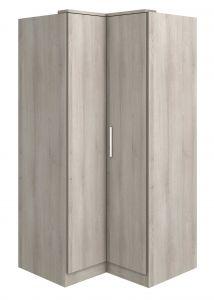 Hoekkledingkast Ramos 90cm met 2 deuren - grijze es