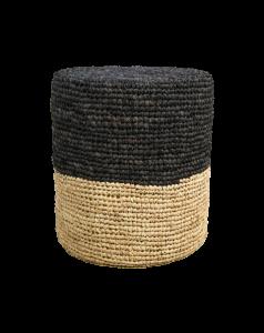 Pouf Malibu - raffia - ø34 cm - naturel / zwart