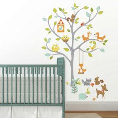 Muursticker Happy Woodland Fox & Friends Tree