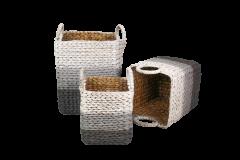 Mand Waterhyacint - wit / lichtgrijs / grijs - set van 3
