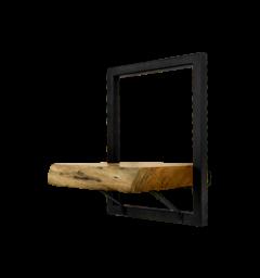 Wandplank Levels Live Edge - 25x32 cm - acacia / ijzer