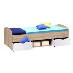 Bed Nero 90x200 met 2 lades - eik/wit