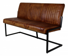 Eetbank Texas - 145 cm - buffelleder / metaal - cognac