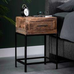 Nachtkastje Lodge industrieel - gerecycleerd hout