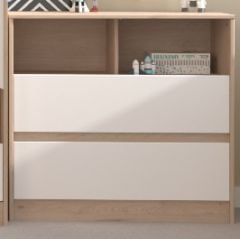 Commode Shelby 84cm - eik/wit