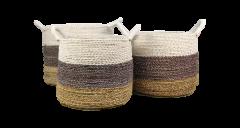 Mandenset Malibu - naturel / paars / wit - raffia / zeegras - set van 3