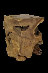 Kruk Block - vierkant - blank - teak