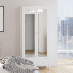Kledingkast Tarik 89cm met 2 spiegeldeuren en lade - wit