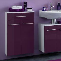 Badkamerkastje Small 50cm 1 lade & 2 deuren - hoogglans paars