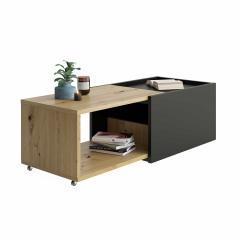 Verlengbare salontafel Sleeve - oude eik/zwart