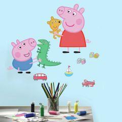 Muurstickers Peppa Pig & George