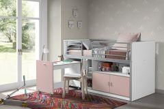 Halfhoogslaper met bureau Bonny 91 - roze