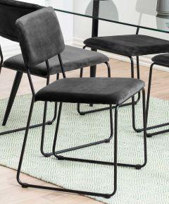 Set van 2 fluwelen stoelen Nelly - donkergrijs/zwart