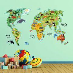 Muurstickers Wereldkaart