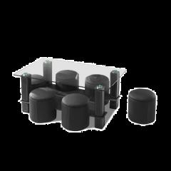 Salontafel Bent met 6 poefs - glas/zwart