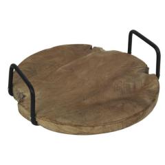 Dienblad ø35cm met handvat  - teak