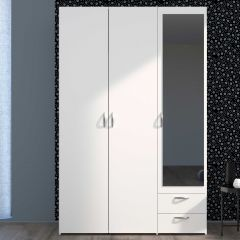 Opbergkast Salvador spiegel, 3 deuren & 2 laden - wit