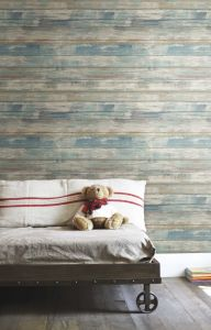 Zelfklevend behang Distressed Wood  - blauw