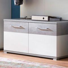 Schoenenkast Stoffel 96cm met 2 deuren - wit/beton