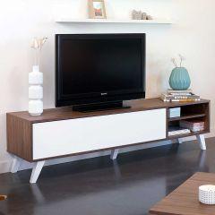Tv-meubel Kim 165cm - walnoot/wit