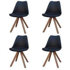 Set van 4 stoelen Chic - zwart